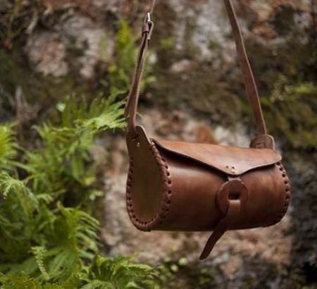 Luz Collection Cylindrical Leather Cross Body Bag - brown