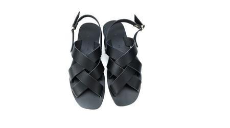 KYMA Oinousses Square Leather Sandal - Black