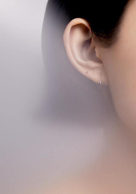 WWAKE One-Step Bar Earrings - 14k yellow gold/Sapphires