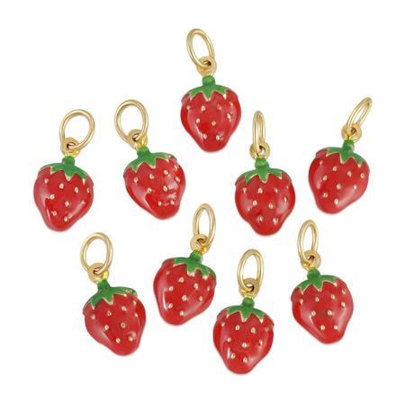 Hortense Strawberry Charm - Enamel/14kt Gold