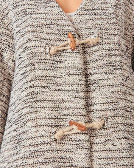 Sessun Textured Cotton Spring Coat - Whiblack
