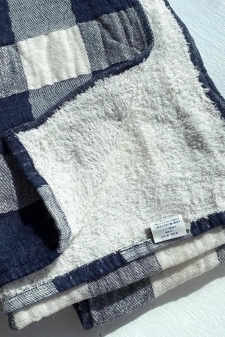 Vintage Morihata Check Bath Towel - Navy