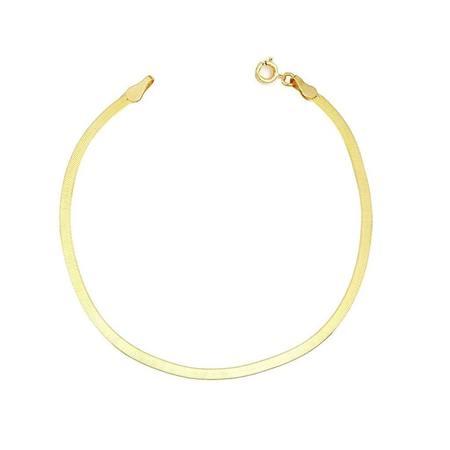 Leah Alexandra Wide Herringbone Bracelet - Gold