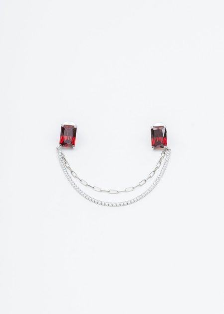 William Shen Silver Red Stone Pin