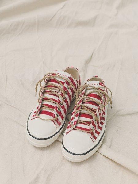 Marni Canvas Gooey Sneaker - Red Stripe