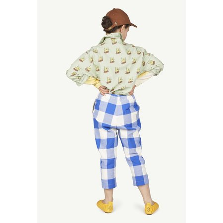 kids the animals observatory elephant trousers - blue vichy logo