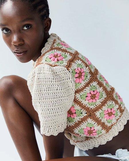 Tach Clothing Nuria Crochet Cardigan - Floral