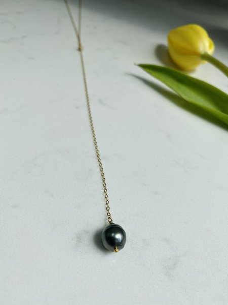 The Loved One Lariat Necklace - Grey Pearl