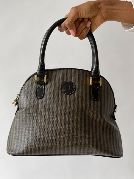 Vintage Fendi Striped Bowler Handbag