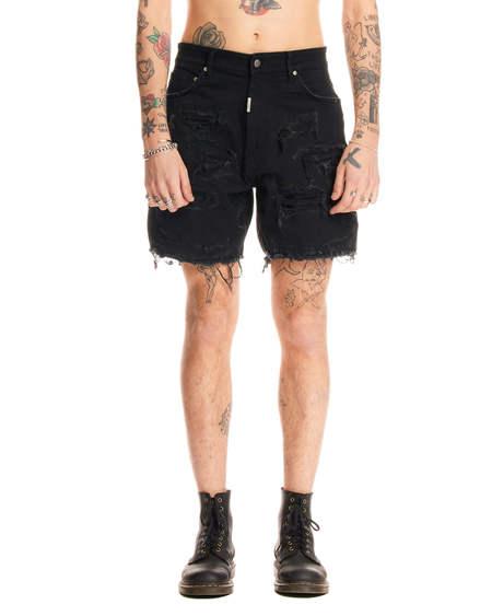 Represent Shredded Denim Shorts