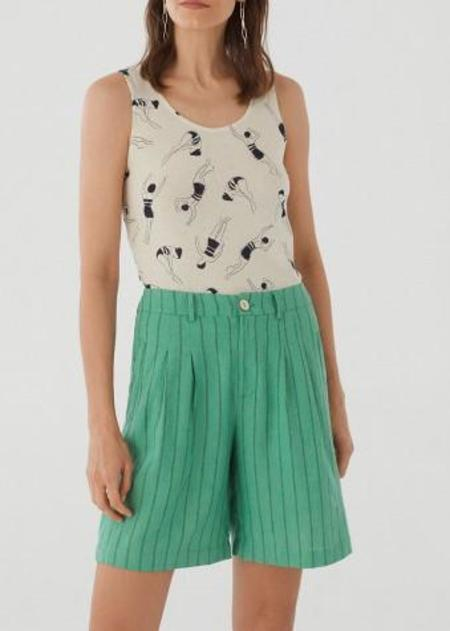 Nice Things Pinstriped Shorts - Pastel Lime