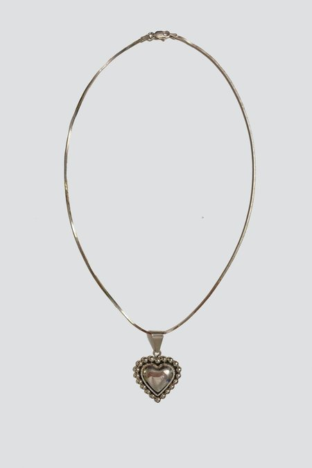 Vintage Heart Pendant Necklace - Sterling Silver