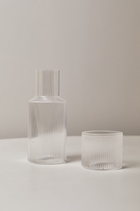 FERM LIVING SMALL RIPPLE CARAFE SET - Clear