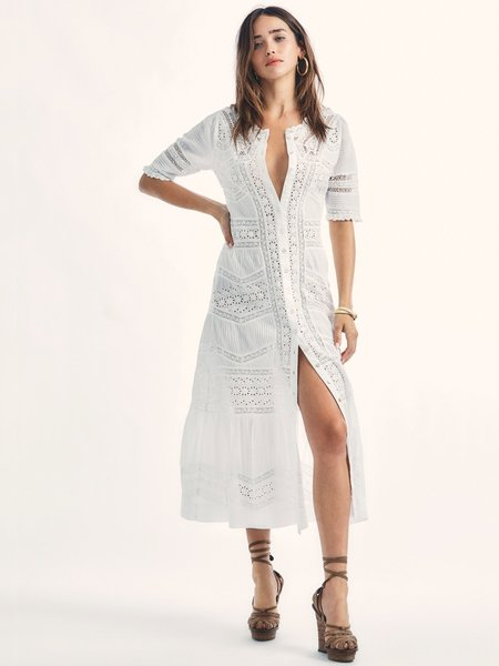 LoveShackFancy Ardan Victorian Maxi Dress - True White