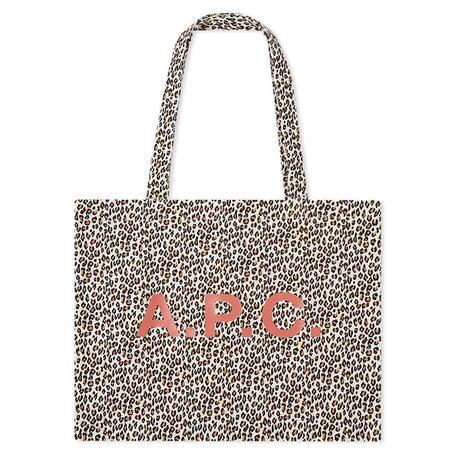A.P.C. Diane Leopard Print Shopping Bag - White