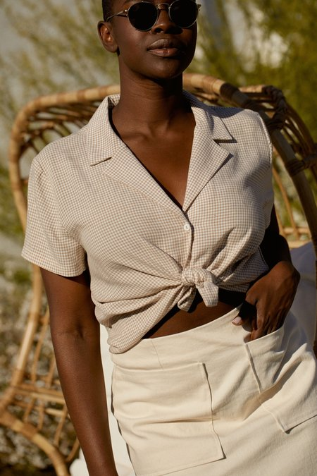Whimsy + Row Lena Button Down - Beige Gingham
