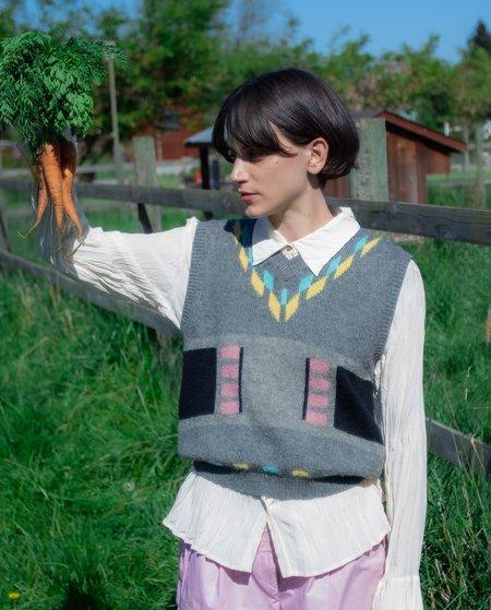 Vintage Pastel Geo Sweater Vest - multi