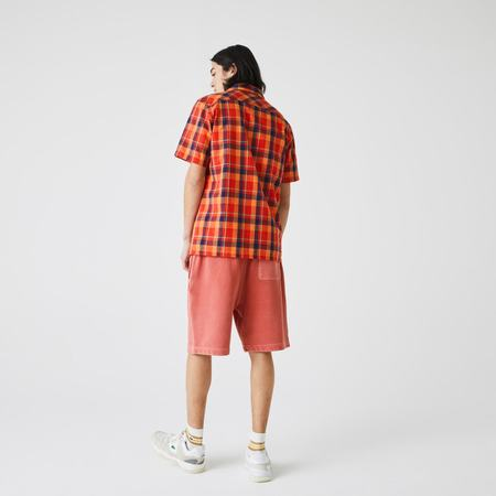 LACOSTE Check Cotton Fabric Shirt - Red/Orange/Blue