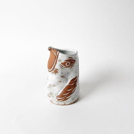 KNOTWORK LA Toasty Almond Eyed Flying Handless Bird Pitcher - white/brown