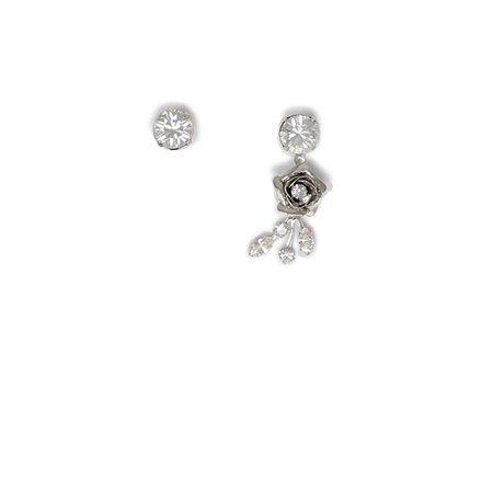 Joomi Lim Asymmetrical Crystal & Flower Earrings