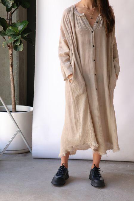 Raquel Allegra Poet Dress - Sand