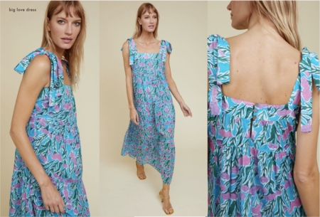 Warm Big Love Dress - Blue/Pink Print