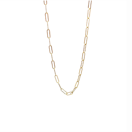 Silver Girl Paperclip Chain Necklace - Gold