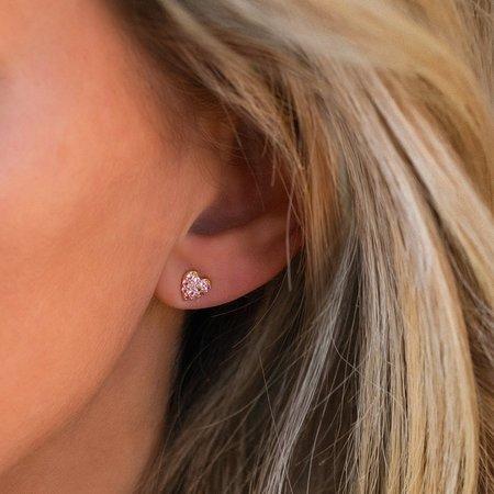 Leah Alexandra Heart Pave Studs - Pink Sapphire
