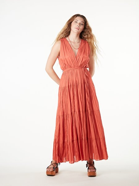 Ottod'Ame Deep V Maxi Dress - PAPAYA