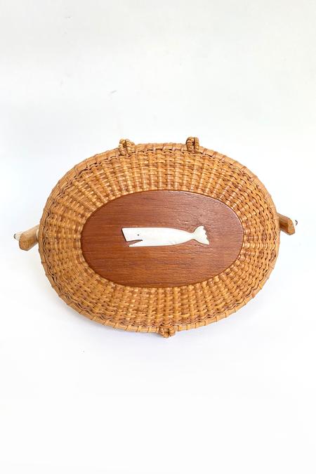 Vintage Nantucket Basket Whale Bag - brown