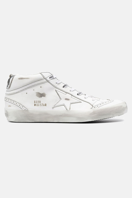 Golden Goose Mid Star Sneaker Shoes - White/Silver