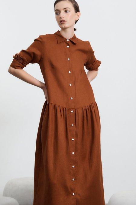 Milk & Thistle Studio Shirt Long Sleeved Dress - Toffee