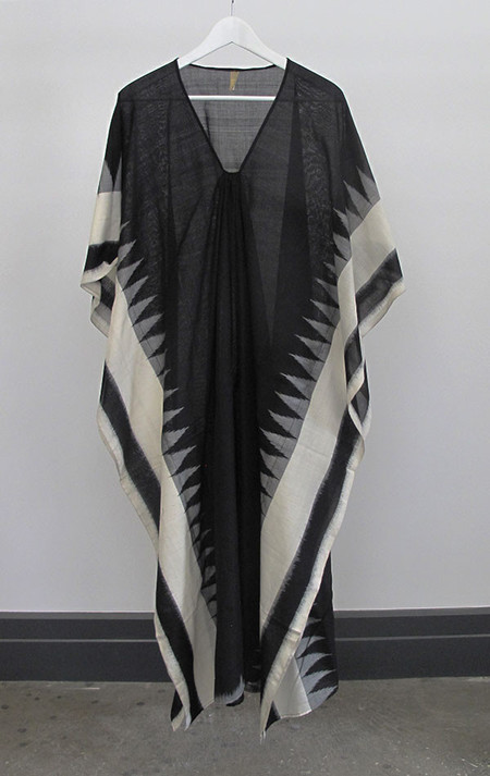 Two New York Ikat caftan with cream temple border