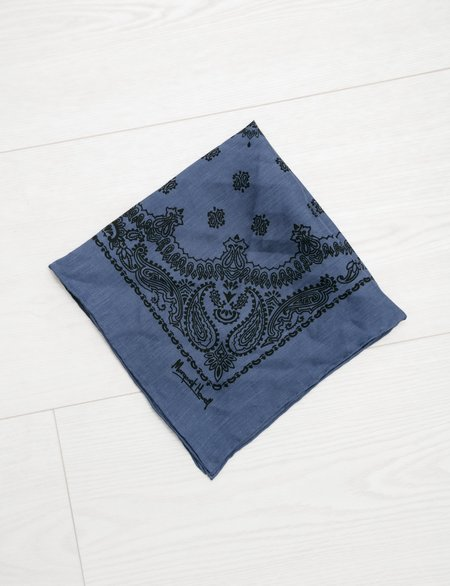 Unisex Margaret Howell Paisley Print Scarf in Linen Voile - Pacific Black