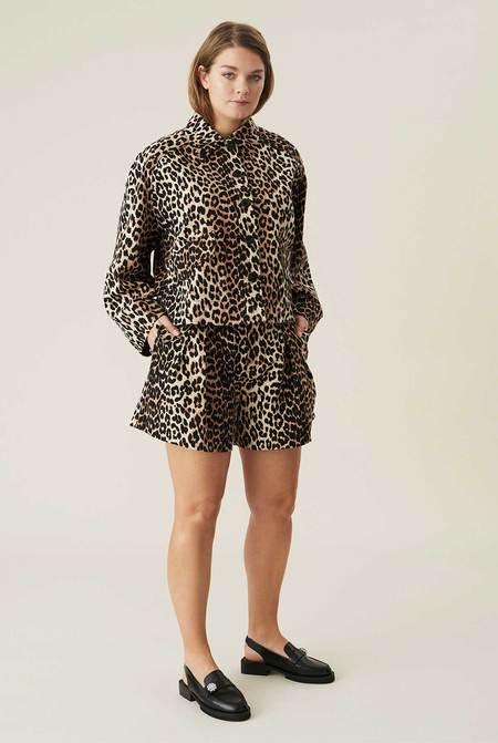 Ganni Boxy Linen Jacket - Leopard