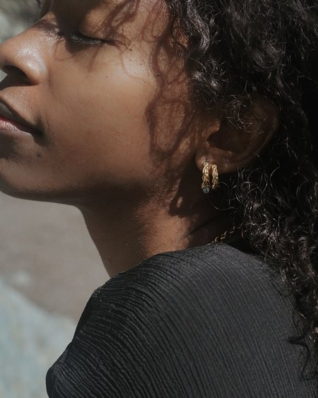 Pamela Love Braided Stone Hoop Earrings - 14K Yellow Gold Plated