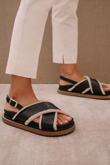Alohas Marshmallow Leather sandal - Black