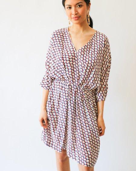 [Pre-loved] Maje Chainlink Print Mini Dress - Red/Blue Print