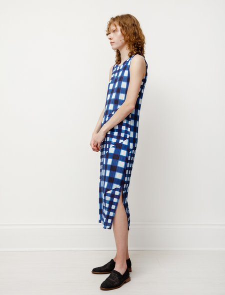 Pleats Please by Issey Miyake Maxi/Micro Gingham Tank Dress - Blue
