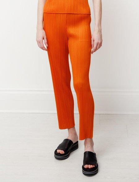 Pleats Please by Issey Miyake Straight Pants - Dark Orange