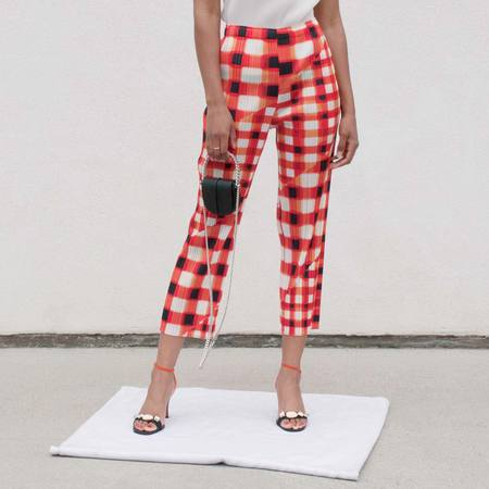 Pleats Please by Issey Miyake Trek Check Slim Pants - Red