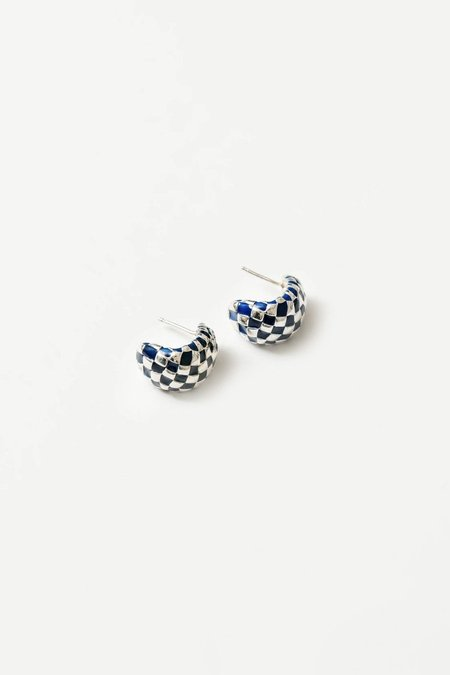 Wolf Circus Small Nellie Earrings - Sterling Silver/Navy Resin