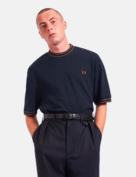 Fred Perry Striped Trim T-Shirt - Navy Blue