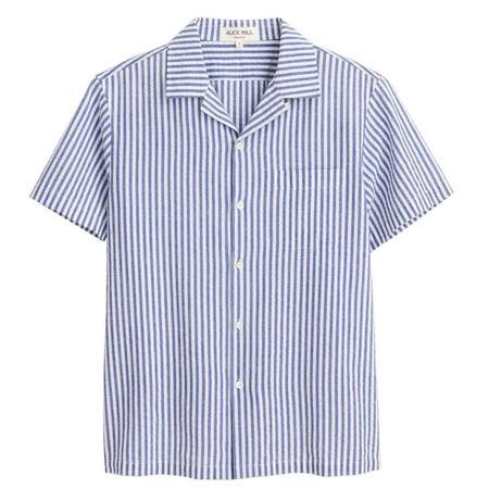 Alex Mill Camp Shirt - Light Blue/White Stripe Seersucker