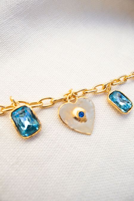 Mondo Mondo Heart Charm Bracelet - Blue