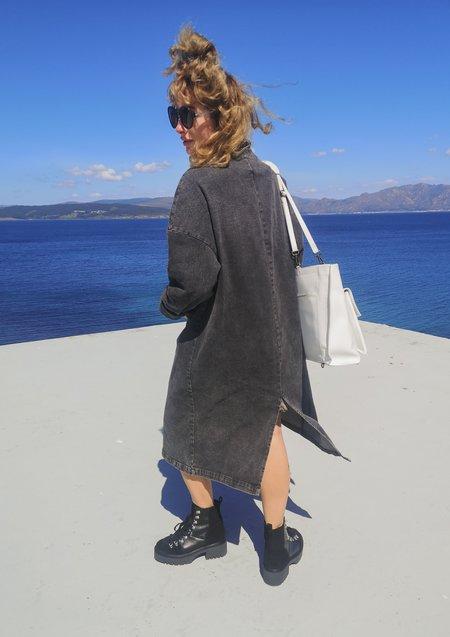 Berenik Stylish Denim Summer Coat - Washed Black