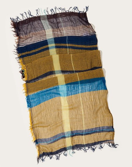Tamaki Niime Middle Roots Shawl - Gold/Blue