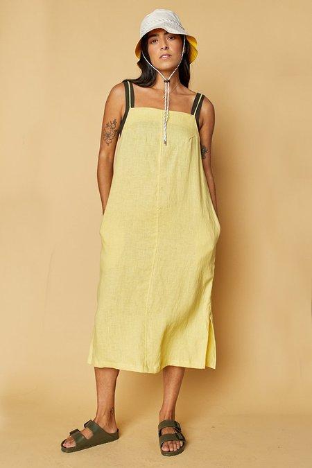 back beat rags Linen Apron Dress - Lime