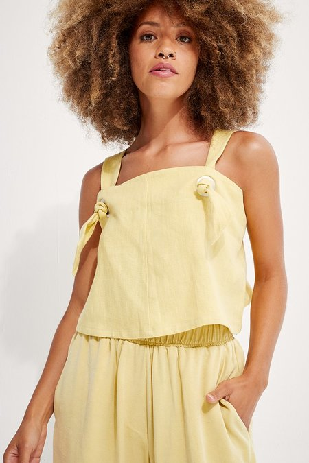 back beat rags Linen Knotted Cami top - Lime