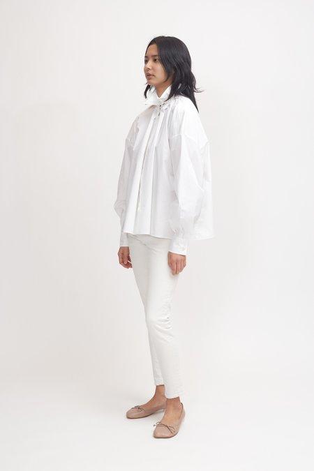 MM6 by Maison Margiela Ruffle Neck Poplin Top - White